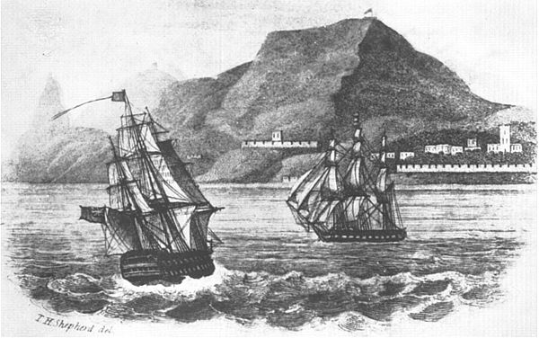 HMS Northumberland and HMS Myrmidon entering James Bay, St. Helena, Oct. 1815 by Thomas Shepherd, 1827