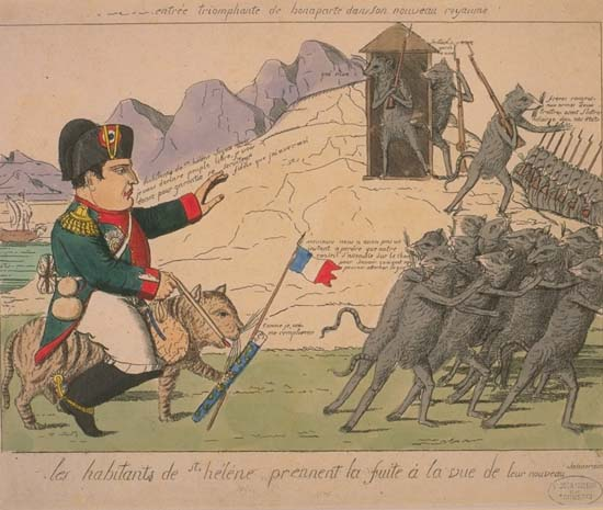 The Natives of Saint Helena Island Flee Before Their New Sovereign/Napoleon's Triumphal Arrival in his New Kingdom. Caricature of Napoleon's arrival at St. Helena.