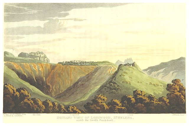 Distant view of Longwood, by R. Cocking, from a sketch by C.I. Latrobe, 1818