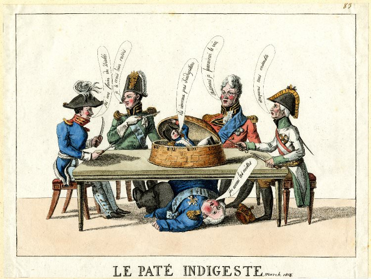 Le pâté indigeste, a caricature of the 1815 Congress of Vienna. The Duke of Wellington, the King of Prussia, and the Emperors of Russia and Austria sit around the table. Napoleon is on it. Louis XVIII is under it.