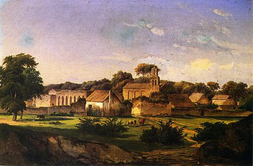 Mission San Juan Capistrano, around which Father Francisco Maynes acquired land. Painting by Hermann Lungkwitz, 1856.