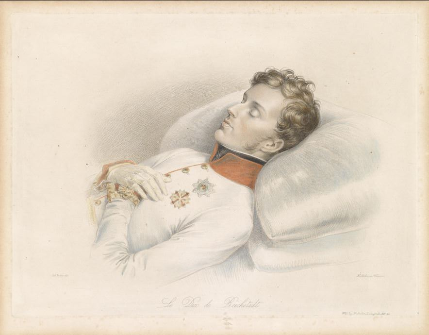 Napoleon's son, the Duke of Reichstadt, on his deathbed, engraved by Franz Xavier Stöber