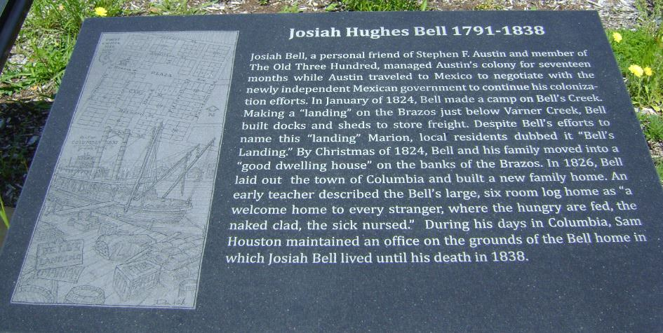 A plaque commemorating Josiah Hughes Bell in West Columbia, Texas
