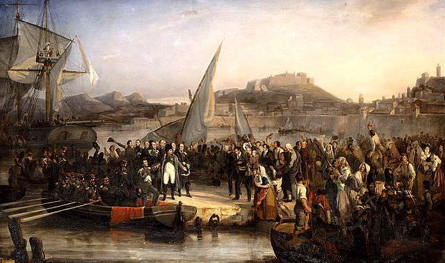 Napoleon leaving Elba by Joseph Beaume, 1836