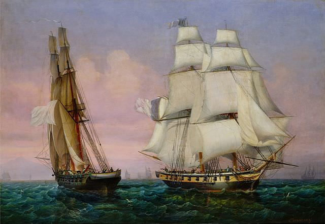 Napoleon's return from the Isle of Elba by Ambroise-Louis Garneray. Napoleon's ship Inconstant, on the right, crosses the path of the French ship Zéphir, during his escape from Elba.