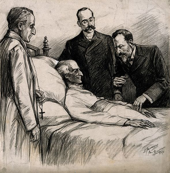Arthur Wellesley, first Duke of Wellington on his deathbed. Lithograph after a drawing by Sir T. Lawrence, 1852. Source: Wellcome Images
