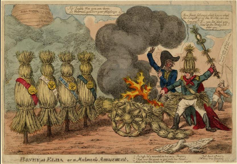 Boney at Elba or a madman's amusement. 1814 British caricature of Napoleon on Elba.