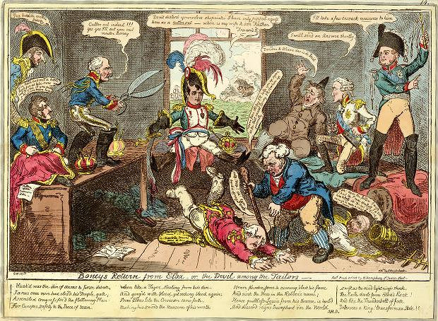 Boney's Return from Elba or the Devil among the Tailors, Caricature by George Cruikshank 1815