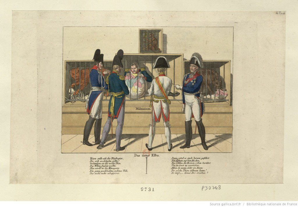 Das neue Elba (The New Elba). Caricature of Napoleon on Elba by Johann Michael Voltz. Source: Bibliothèque nationale de France.