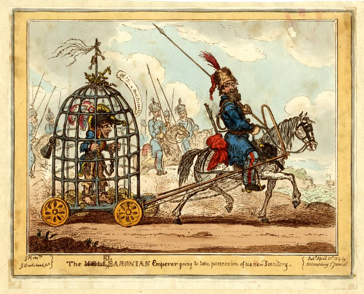 The Elbaronian Emperor going to take possession of his new Territory. Caricature of Napoleon by George Cruikshank, April 1814.