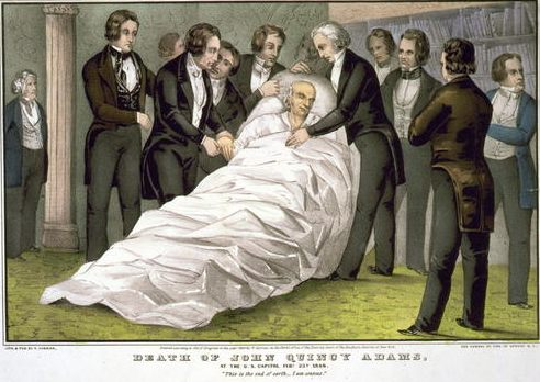 Death of John Quincy Adams, February 23, 1848. His last words were: 'This is the last of Earth. I am content.'