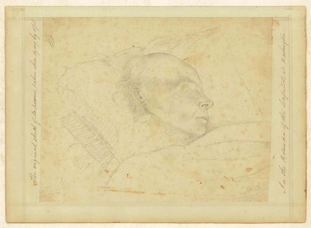 Sketch of John Quincy Adams, taken on his deathbed in the rotunda of the Capitol at Washington by Arthur J. Stansbury, 1848