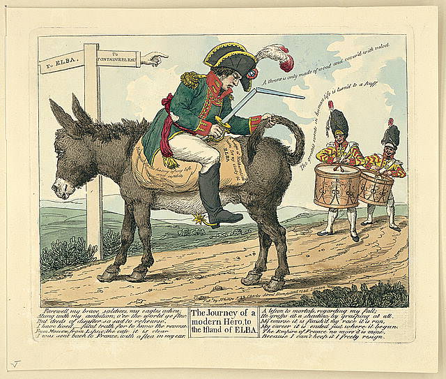 The Journey of Modern Hero to the island of Elba. English caricature of Napoleon, May 1814