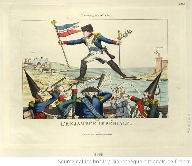 L'enjambée impériale (The Imperial Stride), French caricature of Napoleon's return from Elba, 1815
