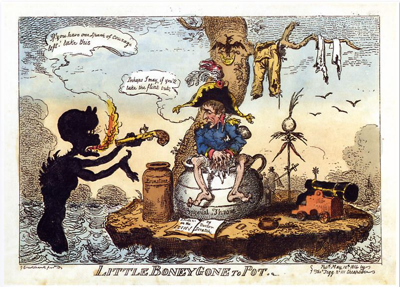 Little Boney Gone to Pot. Caricature of Napoleon on Elba by George Cruikshank, 1814
