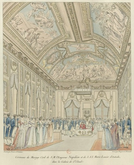Marriage of Napoleon and Marie Louise – the civil wedding ceremony held at Château de Saint-Cloud, April 1, 1810. Source: Bibliothèque nationale de France