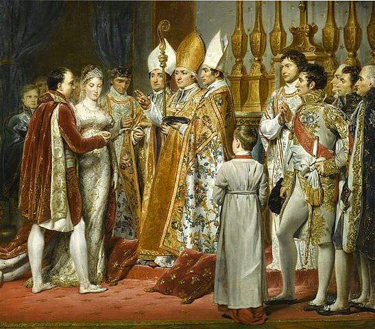 Napoleon and Marie Louise, detail of a painting by Georges Rouget of the wedding held in the Louvre on April 2, 1810