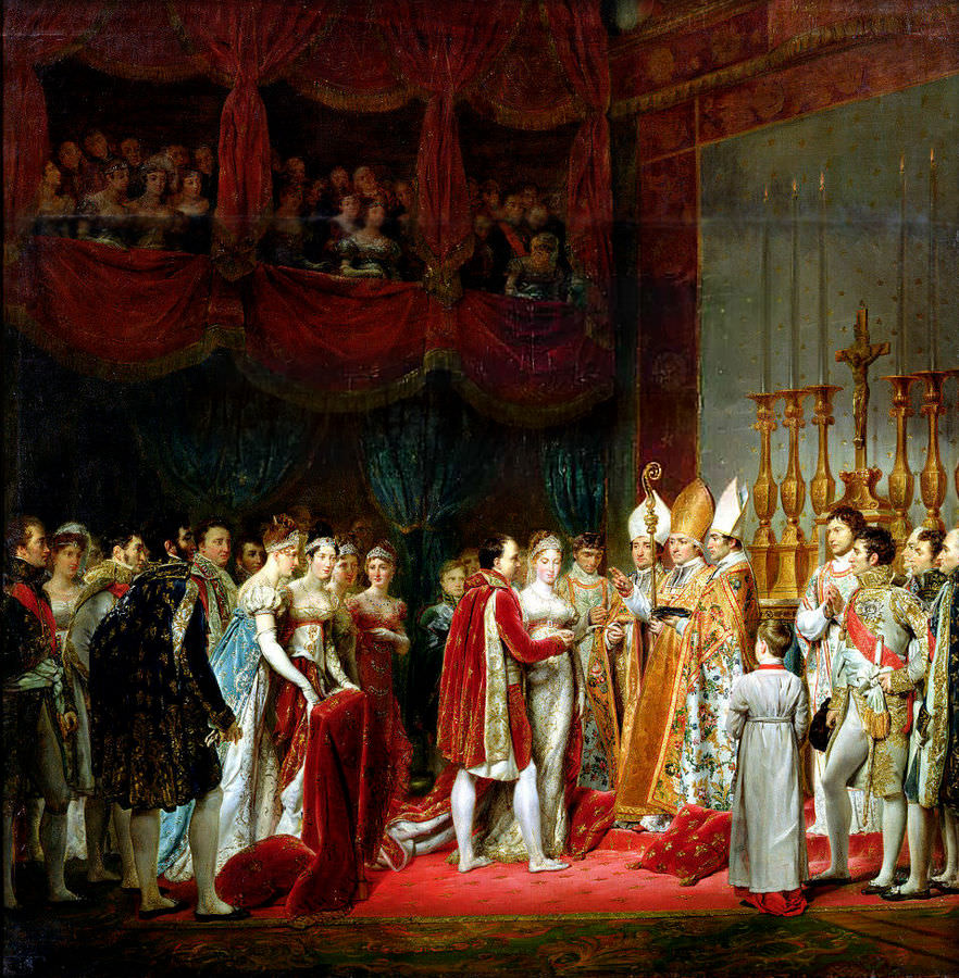 Marriage of Napoleon and Marie Louise - the religious wedding ceremony held at the Louvre, April 2, 1810, by Georges Rouget