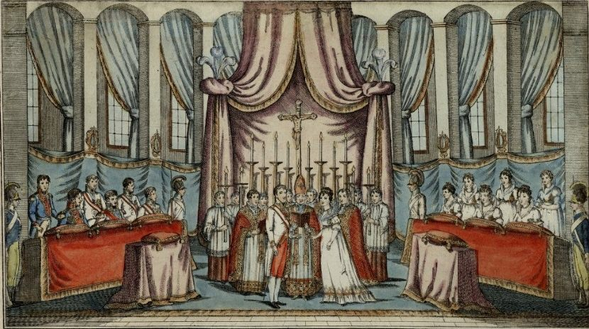 Marriage of Napoleon and Marie Louise by proxy, Vienna, March 11, 1810, hand-coloured engraving by and after Johann Hieronymus Löschenkohl