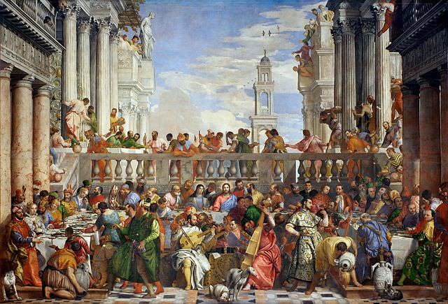 The Wedding Feast at Cana by Paolo Veronese, 1563, plundered by Napoleon's troops from the church of San Giorgio Maggiore in Venice in 1797, remains in the Louvre in Paris