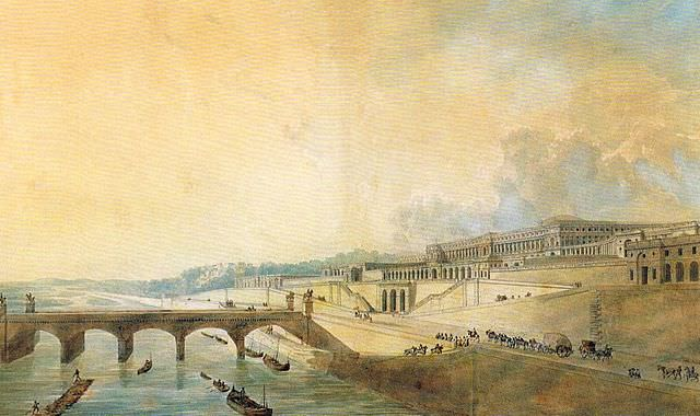 The Palace of the King of Rome as it would have appeared from the Seine, by Pierre-François-Léonard Fontaine