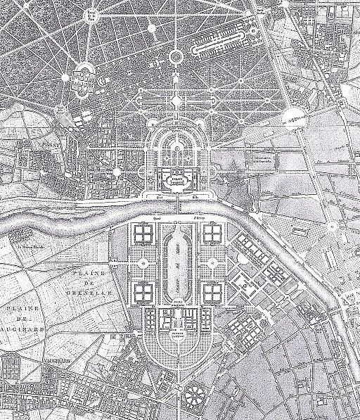 Map showing the planned location of the Palace of the King of Rome at Chaillot, opposite the Champs de Mars
