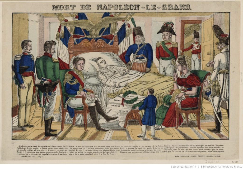Death of Napoleon the Great, French engraving from 1828. Source: Bibliothèque nationale de France