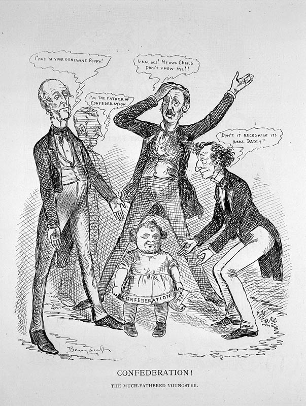 Confederation! The Much-Fathered Youngster, by John Wilson Bengough, 1886. From left to right: George Brown, Sir Francis Hincks, William McDougall, Sir John A. Macdonald