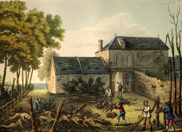 A pyre at Hougoumont after the Battle of Waterloo, by James Rouse, 1816, an example of Napoleonic battlefield cleanup