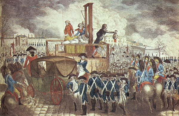 The guillotine execution of King Louis XVI, 1793. German copperplate engraving by Georg Heinrich Sieveking