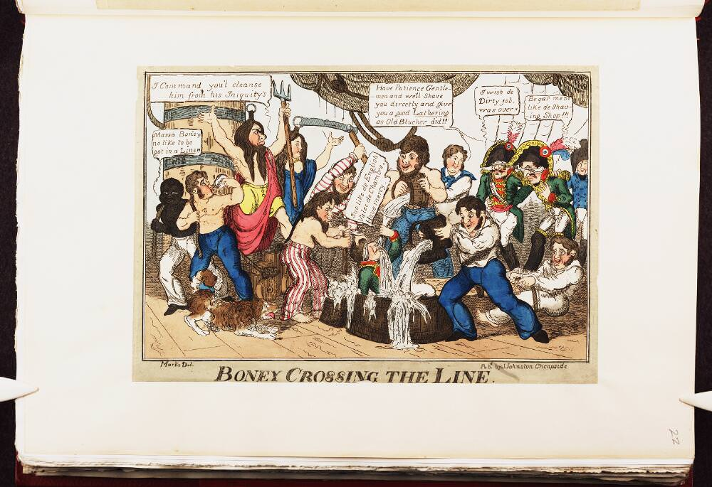 Boney crossing the line. Napoleon caricature by John Lewis Marks, circa September 1815. Source: Bodleian Libraries, University of Oxford, http://digital.bodleian.ox.ac.uk/