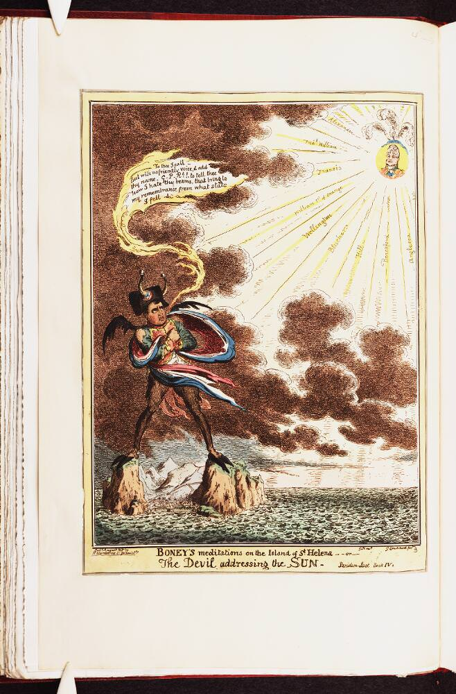 Boney's meditations on the Island of St. Helena, or The Devil addressing the Sun. Napoleon Caricature by George Cruikshank, August 1815. Source: Bodleian Libraries, University of Oxford, http://digital.bodleian.ox.ac.uk/