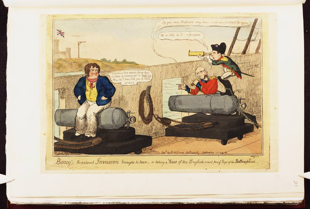 Boney's threatened invasion brought to bear or: taking a view of the English coast from ye poop of the Bellerophon. Napoleon caricature by George Cruikshank, September 1815. Source: Bodleian Libraries, University of Oxford, http://digital.bodleian.ox.ac.uk/