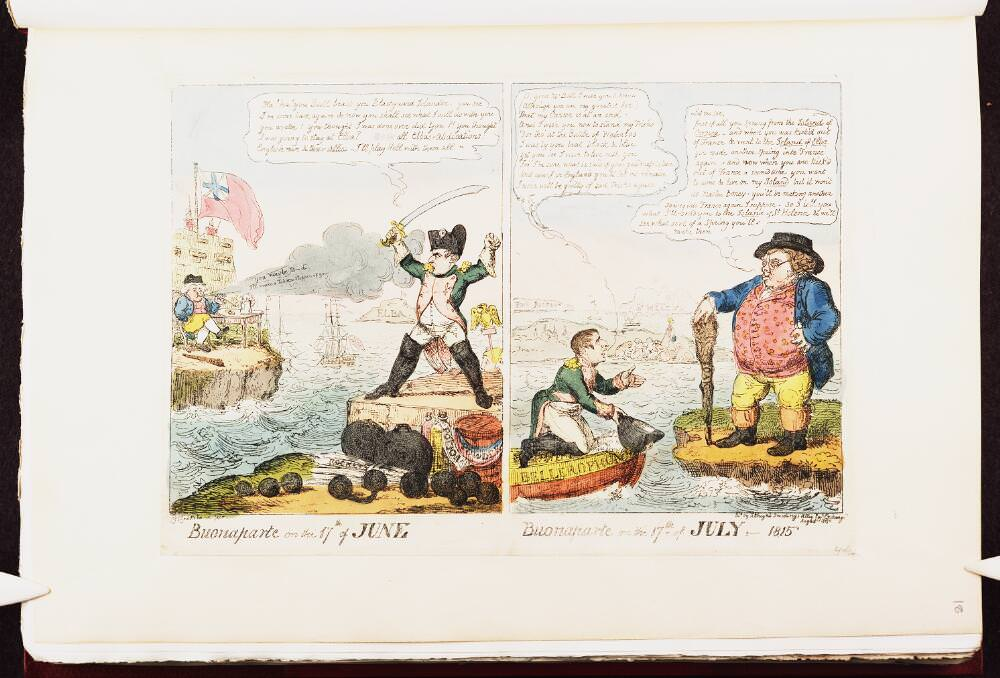 Buonaparte on the 17th of June / Buonaparte on the 17th of July – 1815. Napoleon caricature by George Cruikshank, August 1815. . Source: Bodleian Libraries, University of Oxford, http://digital.bodleian.ox.ac.uk/
