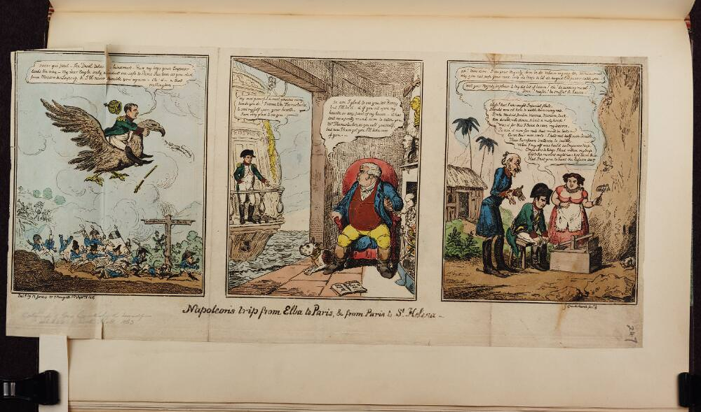 Napoleon's trip from Elba to Paris, & from Paris to St. Helena. Napoleon caricatures by George Cruikshank, September 1, 1815. Source: Bodleian Libraries, University of Oxford, http://digital.bodleian.ox.ac.uk/