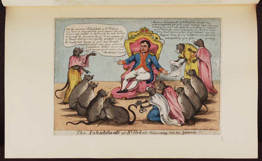 The inhabitants of St. Helena addressing their new Governor. Napoleon caricature Source: Bodleian Libraries, University of Oxford, http://digital.bodleian.ox.ac.uk/