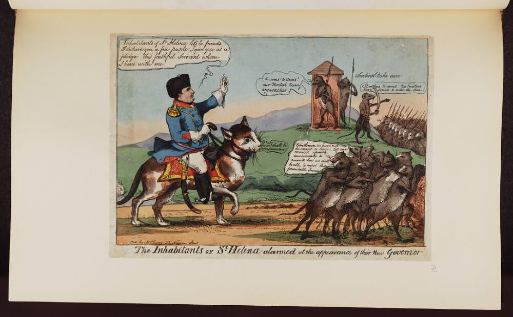 The inhabitants of St. Helena alarmed at the appearance of their new Governor. Napoleon caricature. Source: Bodleian Libraries, University of Oxford, http://digital.bodleian.ox.ac.uk/