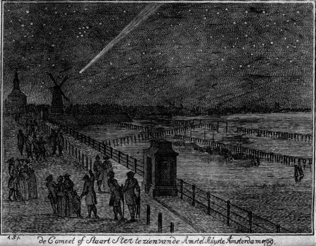 The Great Comet of 1769, which marked Napoleon's birth, as it appeared over Amsterdam.