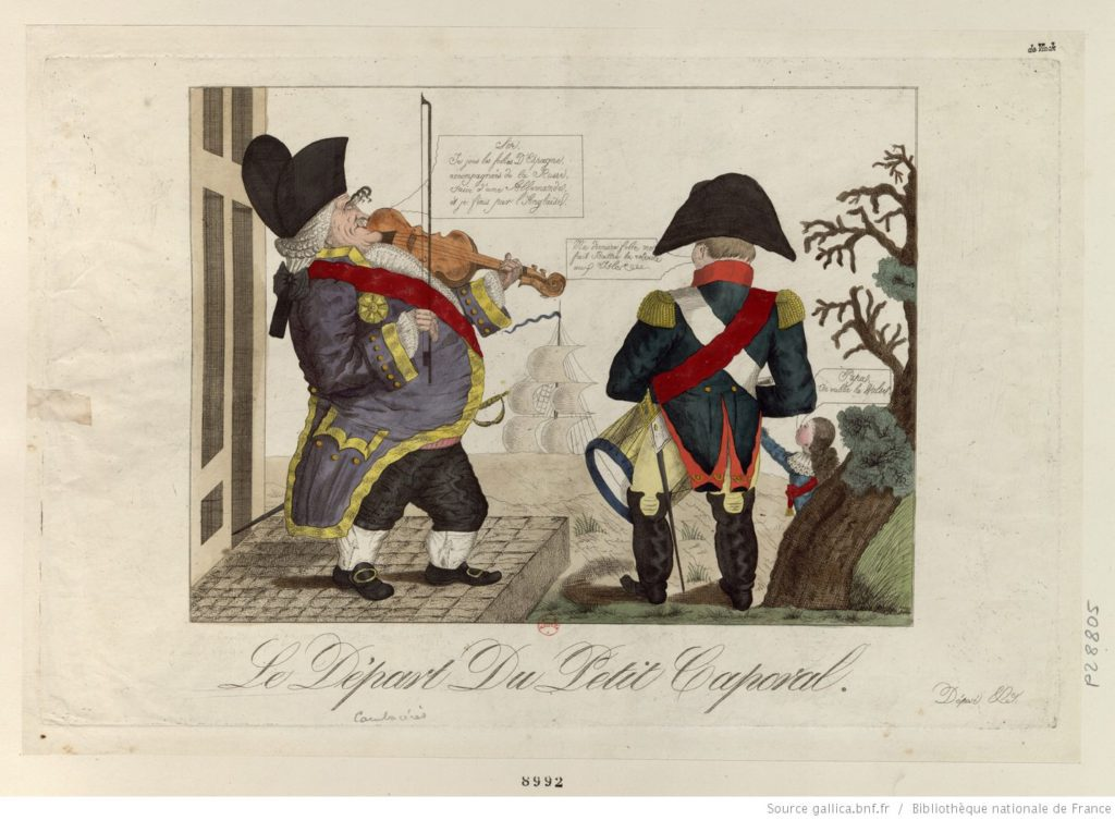 Le départ du petit caporal, French caricature, 1815. Source: Bibliothèque nationale de France, gallica.bnf.fr