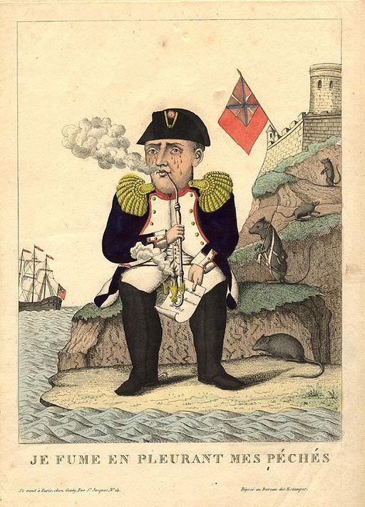 Je Fume en Pleurant mes Péchés. Napoleon caricature by Louis, 1815