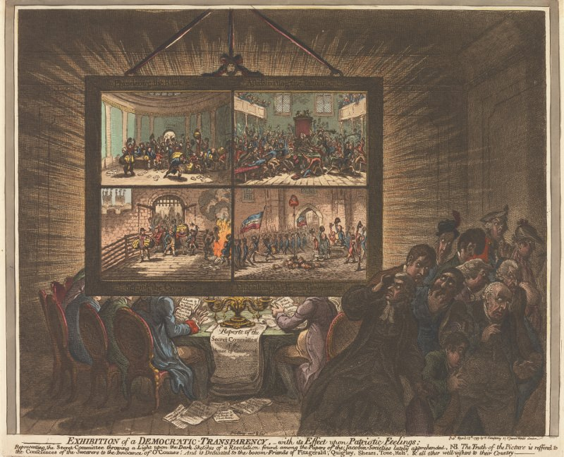 Exhibition of a Democratic Transparency, with its Effect upon Patriotic Feelings. Caricature of transparencies by James Gillray, 1799. Source: Yale Center for British Art, Paul Mellon Collection