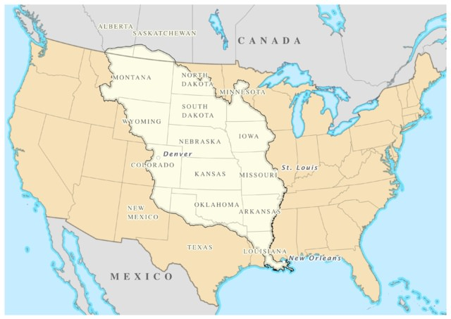 The area covered by the Louisiana Purchase. Ever wonder about that little bit that extends into Canada? Map by William Morris