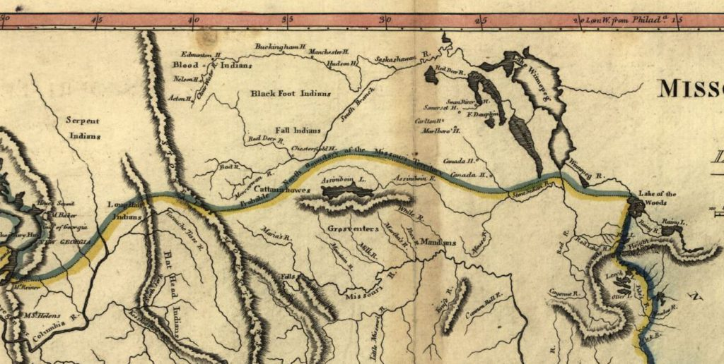 """Detail of the previous map, showing the """"Probable North Boundary of the Missouri Territory."""" Source: Library of Congress"""