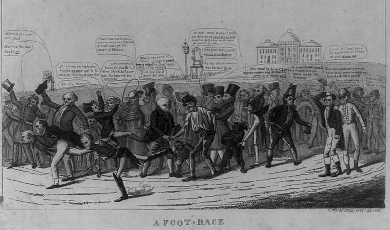 "A Foot-Race. Caricature of the Presidential election of 1824 by David Claypoole Johnston. Cheering citizens watch as John Quincy Adams, William Crawford and Andrew Jackson stride toward the finish. Henry Clay stands on the far right, hand on head, saying, ""D--n it I cant save my distance – so I may as well 'draw up.'"""