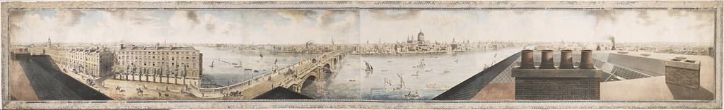 Panoramic view of London. Aquatint by Henry Aston Barker, after Robert Barker, 1792