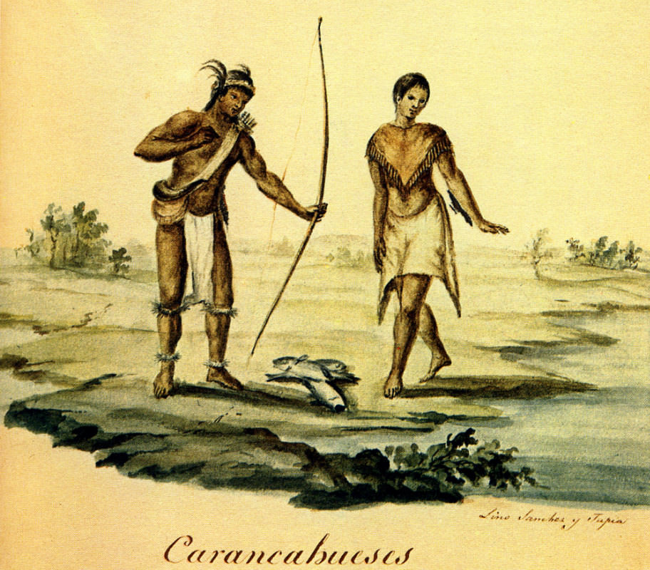 Karankawa Indians of the Gulf Coast. Watercolour by Lino Sánchez y Tapia