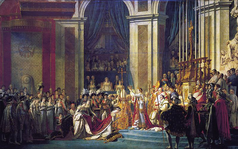 Coronation of Emperor Napoleon I and Coronation of Empress Josephine in Notre Dame Cathedral of Paris, December 2, 1804, by Jacques-Louis David and Georges Rouget, 1805-1807