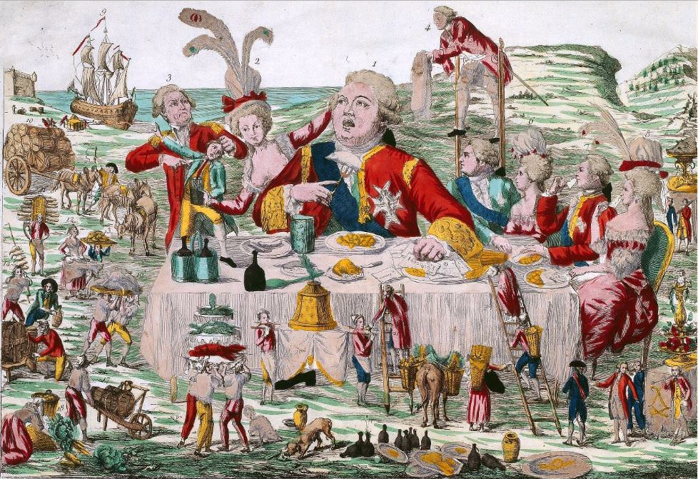 Le ci-devant grand couvert de Gargantua modern en famille (How the modern Gargantua and his family once dined), 1791, French satirical print showing Louis XVI, Marie-Antoinette, the future Louis XVIII and Charles X, and other members of the Bourbon family au grand couvert. Source: French Revolution Digital Archive, Stanford University Libraries & the Bibliothèque nationale de France