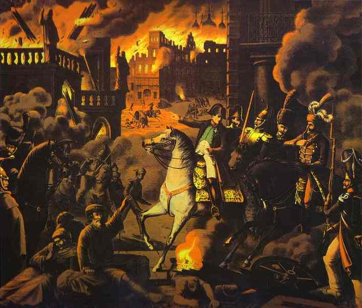 Napoleon at the burning of Moscow in 1812. What if the fire hadn't happened?