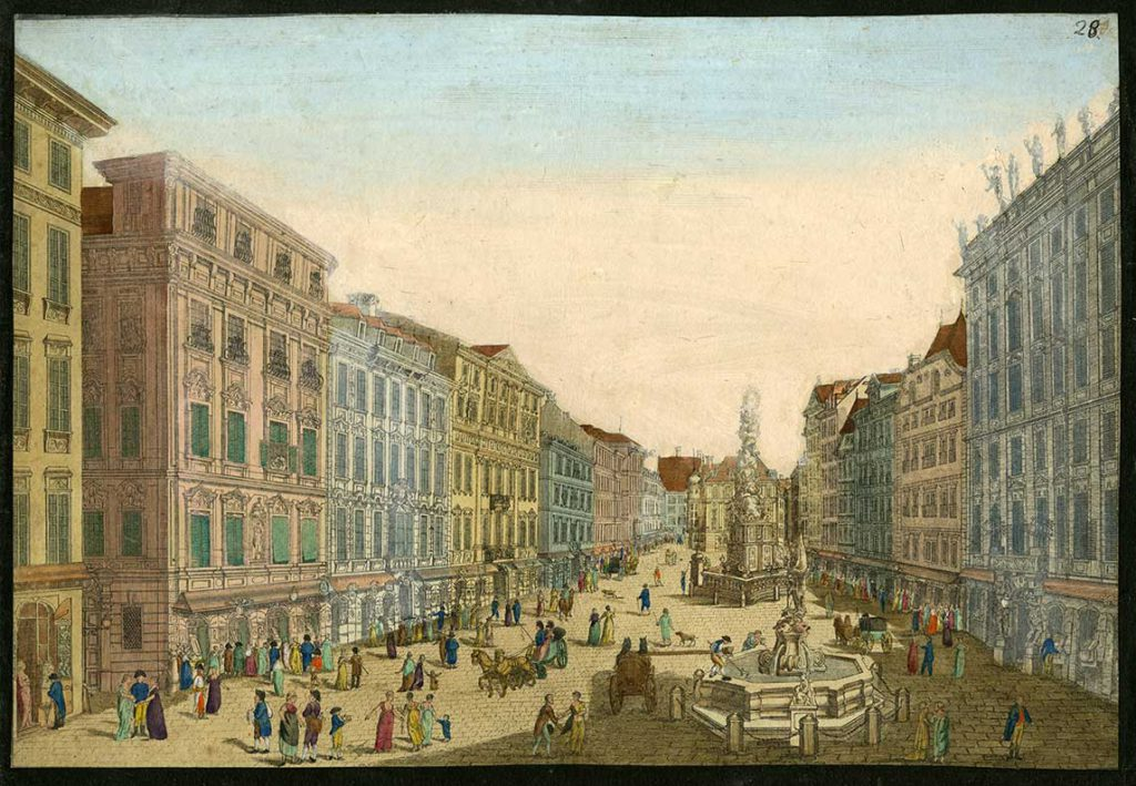 View of the relatively uncrowded Graben in Vienna around 1800. From the collections of the Ira F. Brilliant Center for Beethoven Studies, San José State University